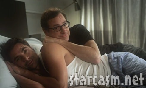 John Stamos and Bob Saget cuddle