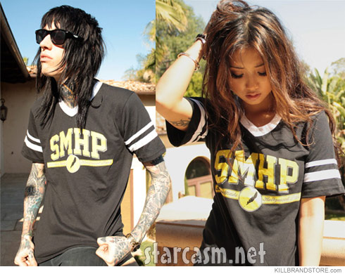 Trace Cyrus and Brenda Song modeling the Southern Made Hollywood Paid clothing line