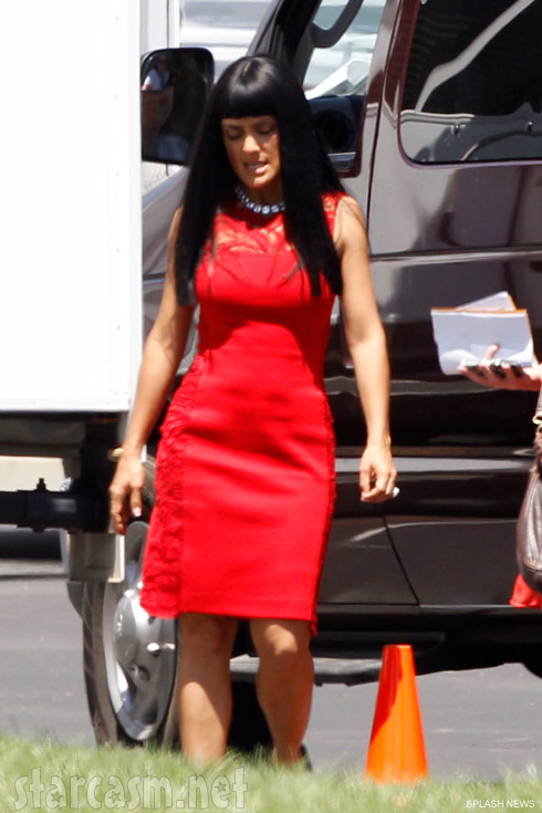 A very angry Salma Hayek on the set of Savages