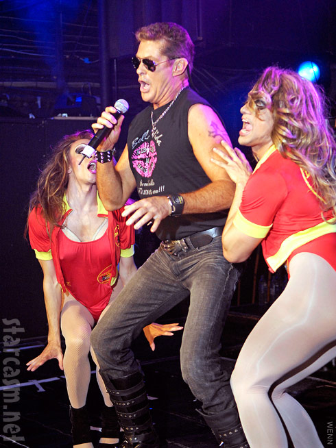 David Hasselhoff performs at club G-A-Y with Baywatch swimsuit clad drag queens