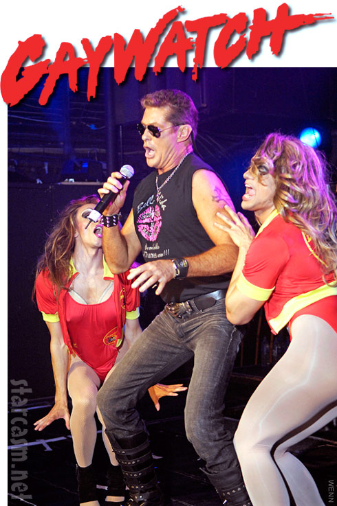 David Hasselhoff in Gaywatch on stage at club G-A-Y in London