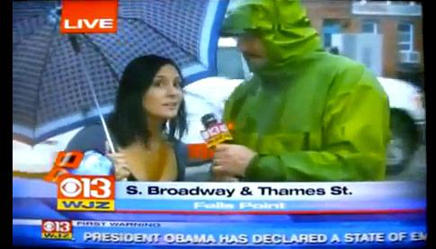 WJZ 13 in Baltimore interviews drunk girl ont he street about hurricane Irene