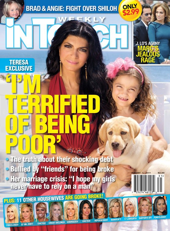 "In Touch Weekly Teresa Giudice cover ""I'm terrified of being poor"" with Alexis Bellino"