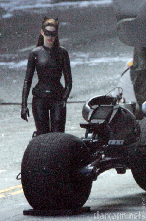 Anne Hathaway in her sexy black leather Catwoman suit from Dark Knight Rises