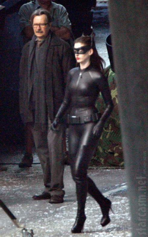 Gary Oldman and Anne Hathaway in her Catwoman costume on set of Dark Knight Rises