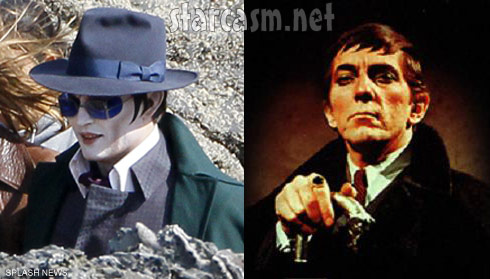 Johnny Depp and Jonathan Frid as vampire Barnabas Collins side-by-side photos