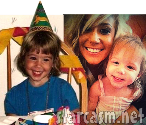 Side by side photo of a young Chelsea Houska and her daughter Aubree Skye
