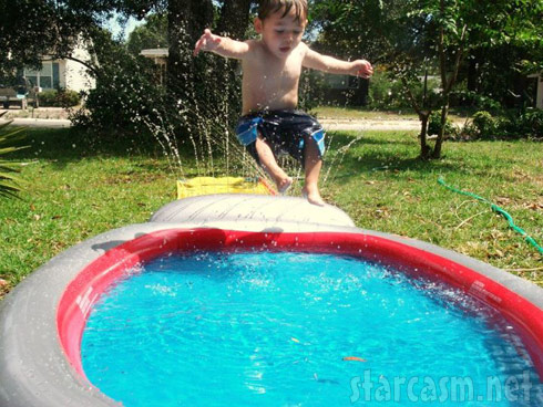 Teen Mom Jenelle Evans's son Jace playing on a slip and slide