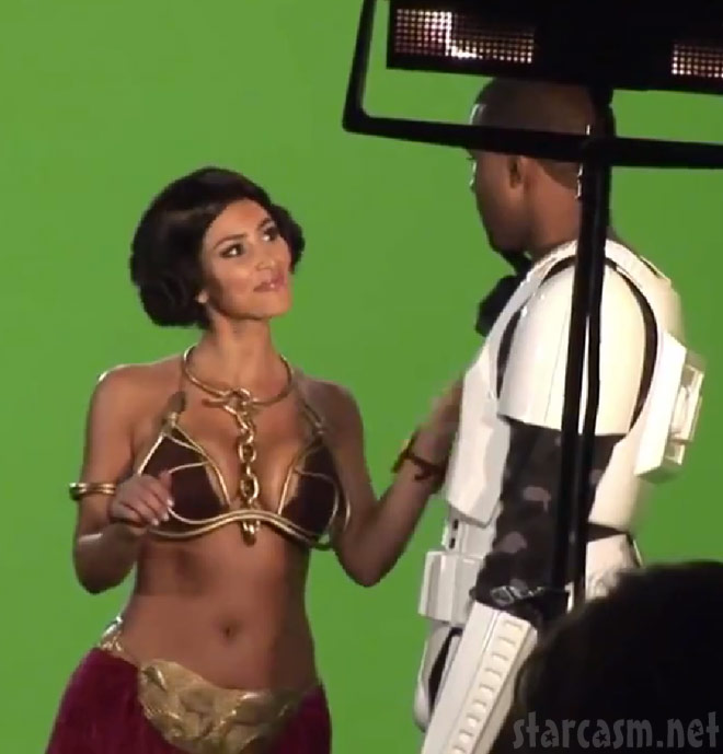Kanye West as a stormtrooper and Kim Kardashian as slave Leia from Alligator Boots