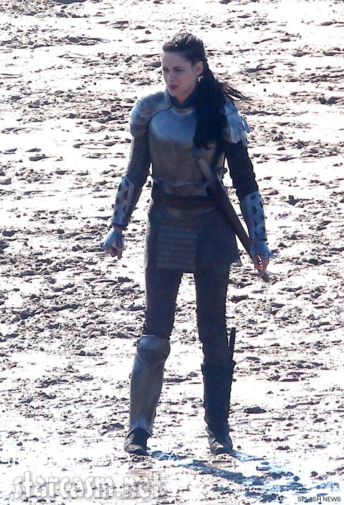 Kristen Stewart in her suit on armor on the set of Snow White and the Huntsman