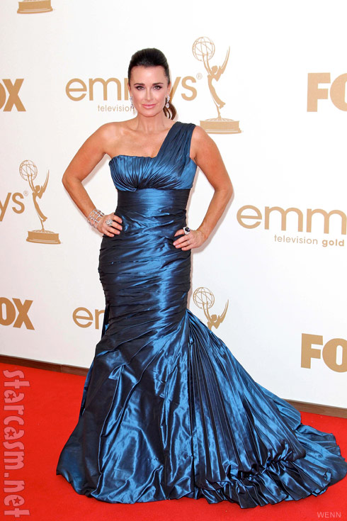 Kyle Richards blue dress on the red carpet at the 2011 EMMY Awards
