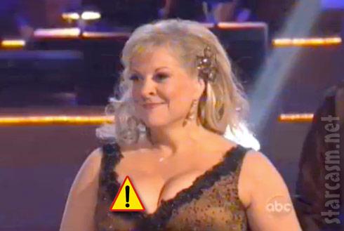 Nancy Grace suffers a nip slip wardrobe malfunction on Dancing With the Stars
