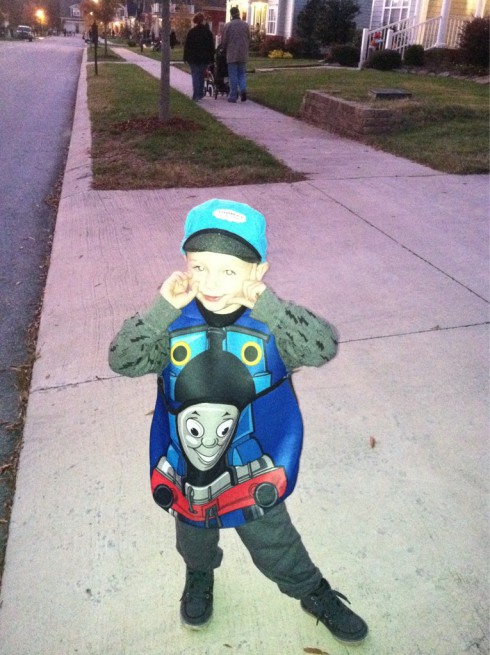 Maci Bookout's son Bentley in a Thomas the Tank Engine Halloween costume