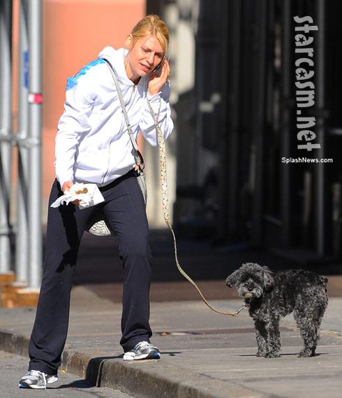 Claire Danes picks up WeeGee's poop