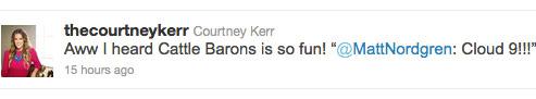 Courtney Kerr sarcastically retweets Matt Nordgren's Cloud Nine comment from Cattle Baron's Ball
