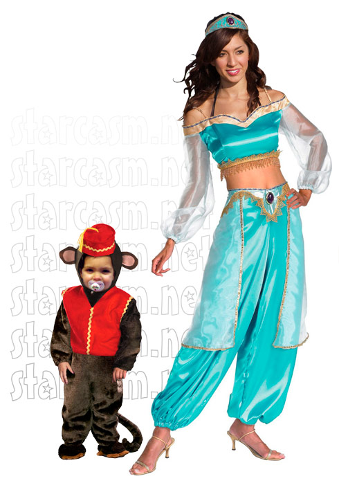 Teen Mom Farrah Abraham as Princess Jasmine for Halloween and Sophia as Abu from Aladdin