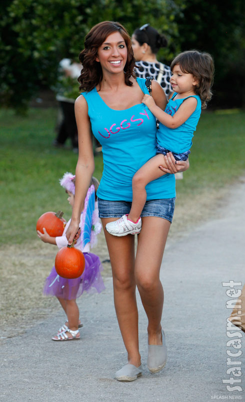 Teen Mom Farrah Abraham visits a pumpkin patch in Florida with daughter Sophia Abraham