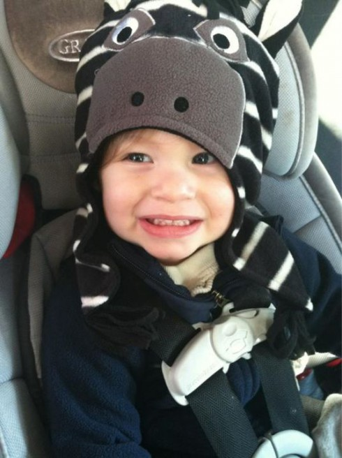 KAilyn Lowry's son Isaac in a zebra Halloween costume
