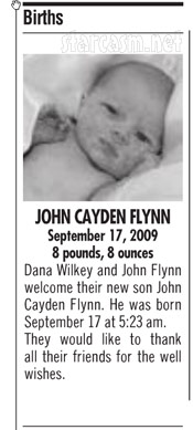 Birth announcement for Dana Wilkey and John Flynn's son John Cayde Flynn JC