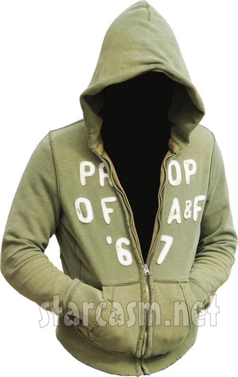Kieffer Delp Halloween costume - a green Abercrombie & Fitch hoodie