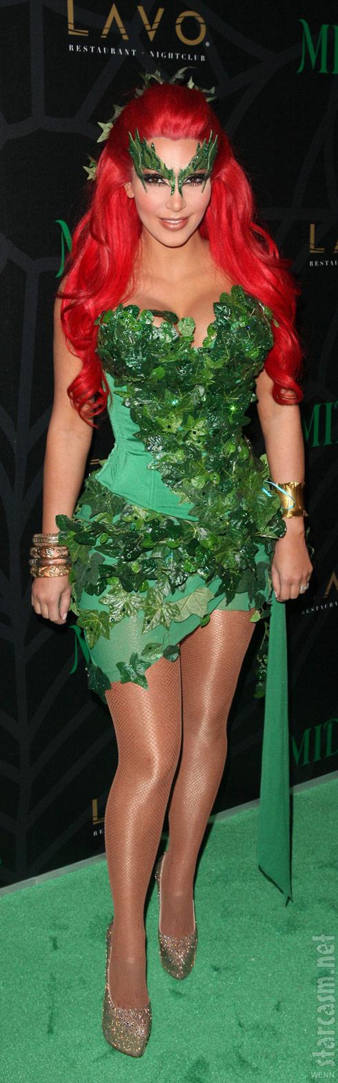 Kim Kardashian's Poison Ivy Halloween costume at Midori Melon Green Party
