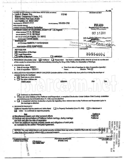 PAge 2 of the Kim Kardashian Kris Humphries official divorce documents