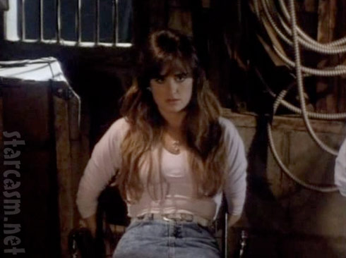 17 year old Kyle Richards is tied up in the horror slasher movie Curfew from 1989