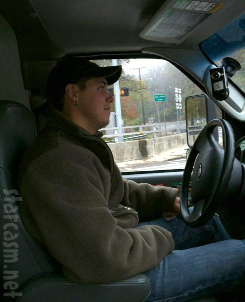 Jeremy Calvert driving a U-Haul