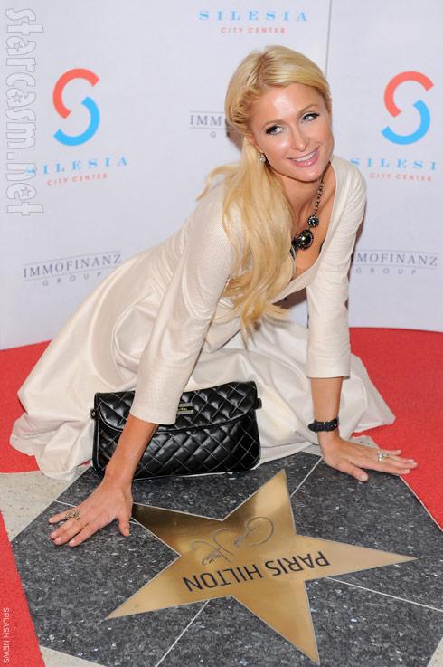 Paris Hilton unveils her star at the Silesia City Center in Katowice Poland