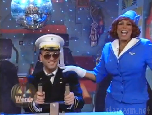 The Situation as a pilot and Wendy Williams as a Pan Am stewardess skit