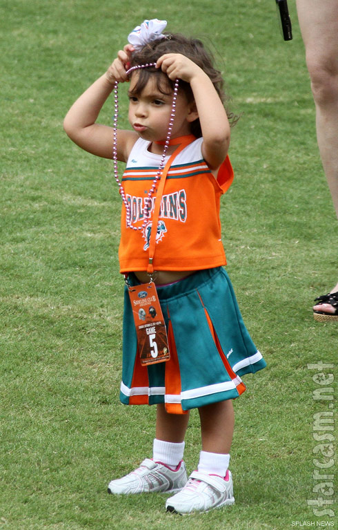 Teen Mom Farrah Abraham's daughter Sophia wears a Miami Dolphins cheerleader uniform