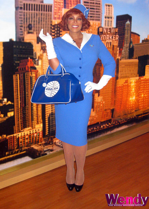 Wendy Williams Pan Am stewardess Halloween costume flight attendant  sc 1 st  Starcasm & VIDEO Wendy Williams and The Situation take flight in Air New Jersey ...