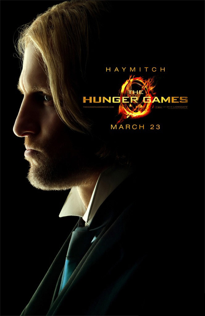 Character poster for Haymitch Abernathy from The Hunger Games played by Woody Harrelson