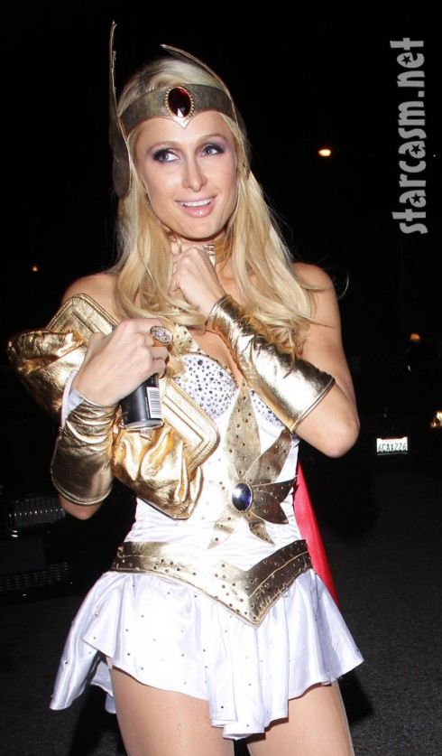 Paris ...  sc 1 st  Starcasm & Paris Hilton dresses up as She-Ra for Halloween - starcasm.net