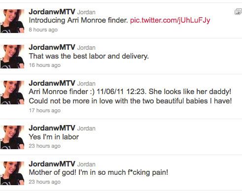 Jordan Ward Finder announces the birth of her daughter Arri Monroe Finder on Twitter