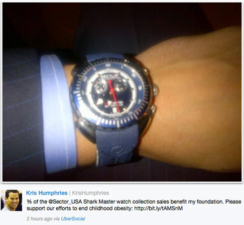Kris Humphries shows off his Sector Shark Master watch