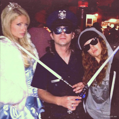 PAris Hilton with friends at Unviersal Studios Halloween Horror Nights