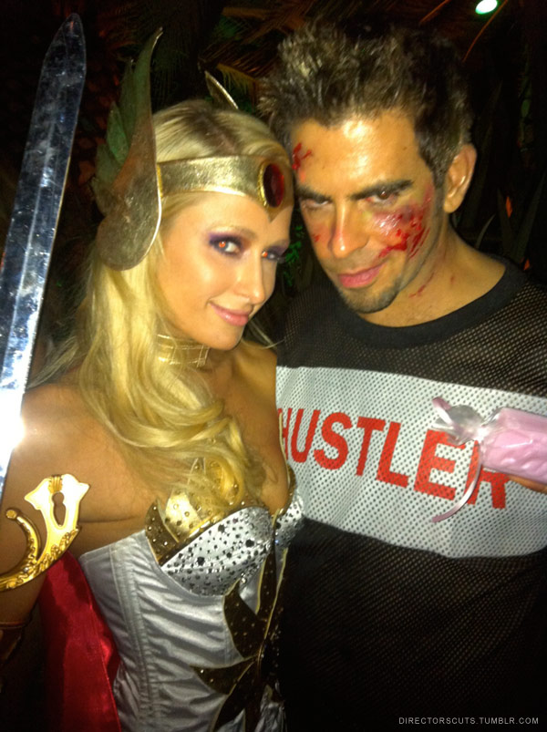 Paris Hilton as She-Ra and Eli Roth in a Tyler Durden costume from Fight  sc 1 st  Starcasm & PHOTOS Paris Hiltonu0027s fun-filled Halloween weekend - starcasm.net