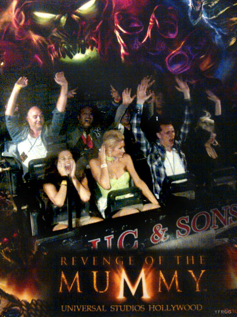 PAris Hilton riding The Mummy Returns roller coaster at Universal Studios