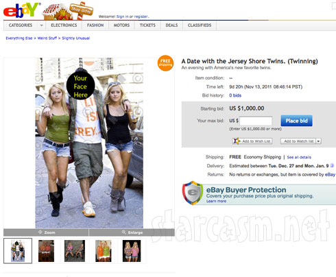 eBay auction for a date with the twins who inspired The Situation's Florence catchphrase TWINNING