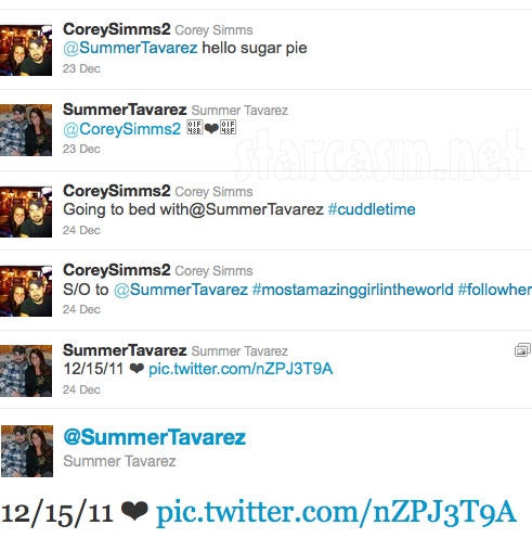 Corey Simms and girlfriend Summer Tavarez exchange tweets