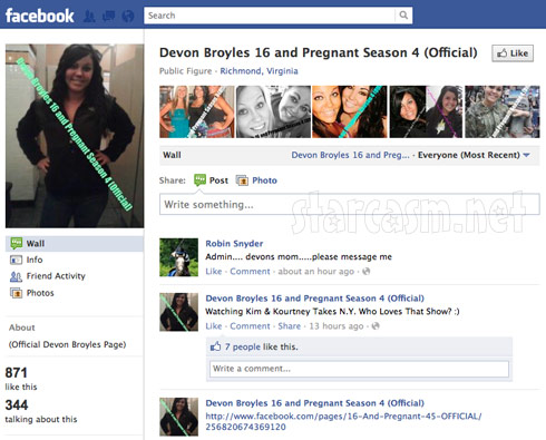 Devon Broyles 16 and Pregnant Season 4 Official Facebook page