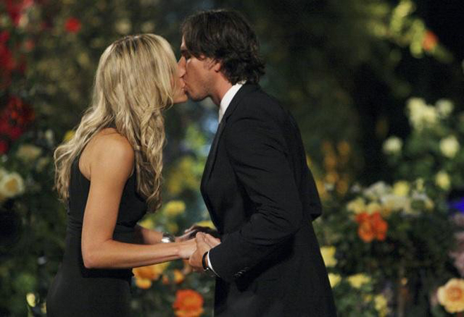 Ben Flajnik kisses The Bachelor contestant Emily O'Brien on the first episode