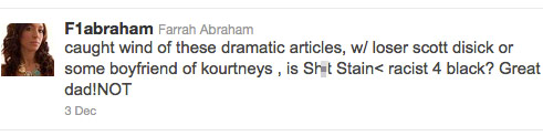 Teen Mom Farrah Abraham asks if Scott Disick's tweet about her was racist