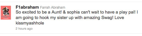 Farrah Abraham tweets about her sister Ashley Danielsen being pregnant