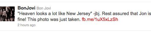 Jon Bon Jovi tweets that he is still alive dispelling online rumors of his death