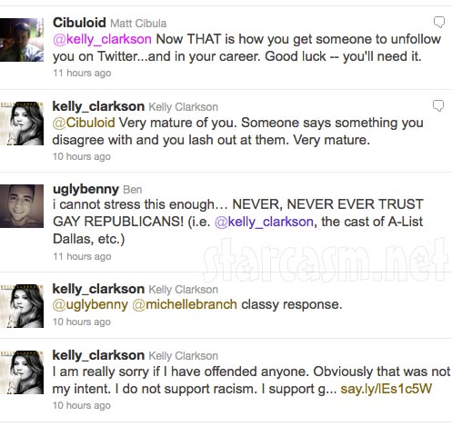 Kelly Clarkson responds to outrage over her Twitter support of Republican Ron Paul
