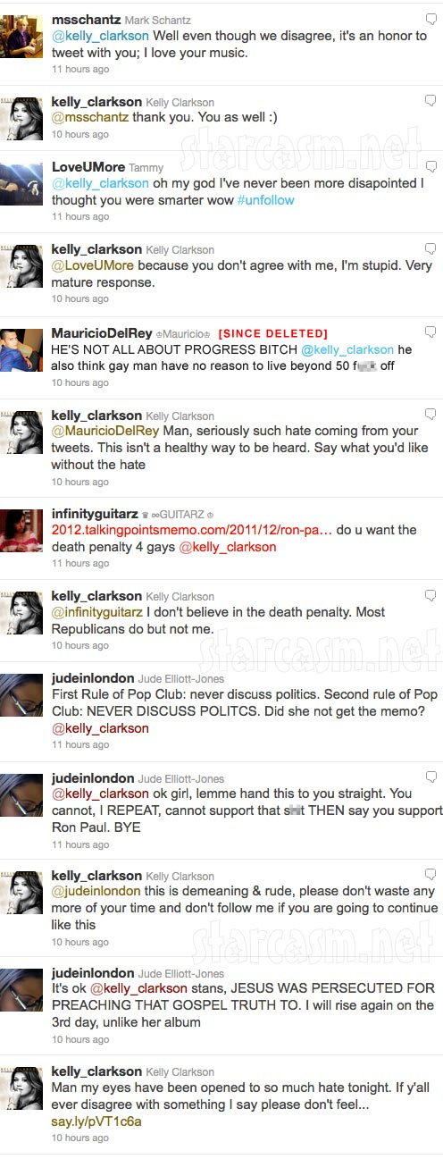 Complete tweets from the Kelly Clarkson Ron Paul Twitter controversy