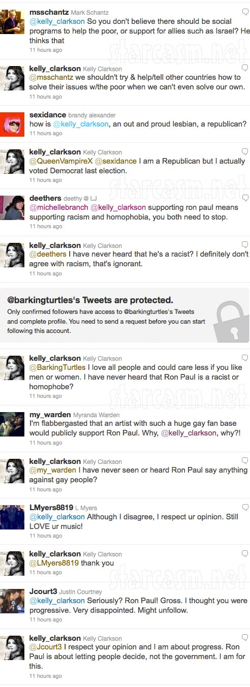 Screen caps of all the Kelly Clarkson Ron Paul tweets and all the original tweets that inspired them