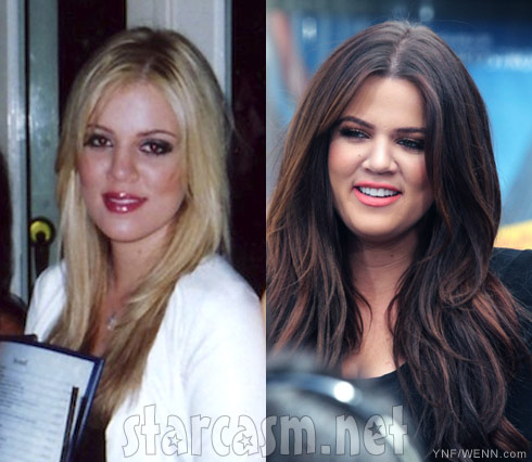 Khloe Kardashian blond and brunette hair side by side photos